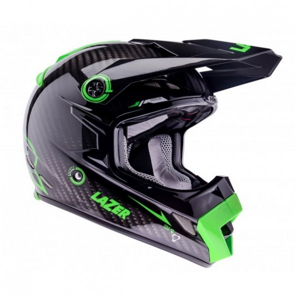 Lazer MX8-Carbon Tech Motocross Helmet - Carbon/Green