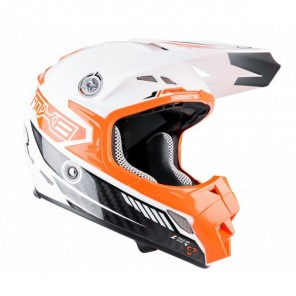 Lazer MX8-Carbon Tech Motocross Helmet - White/Orange
