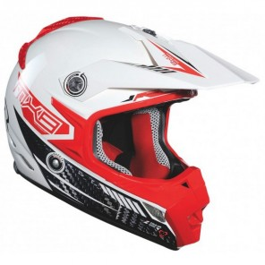 Lazer MX8-Carbon Tech Motocross Helmet - White/Red