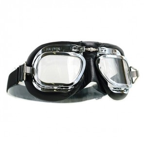 Halcyon Goggles MK410 Deluxe Leather - Chrome/Black