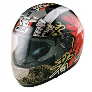 BOX BX-1 Samurai Full Face Helmet - Black/Red
