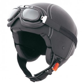 Caberg Jet Century Leather Helmet - Black
