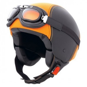 Caberg Jet Century Leather Helmet - Black/Orange