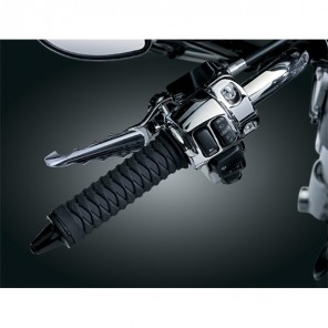 Kuryakyn Braided Grips 82-UP H-D Models With Dual Cable Throttle Control - Black/Black