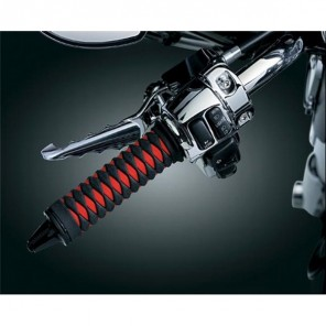 Kuryakyn Braided Grips 82-UP H-D Models With Dual Cable Throttle Control - Black/Red