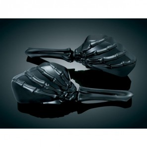 Kuryakyn Skeleton Hand Wing Mirrors - Black Head , Black Stem
