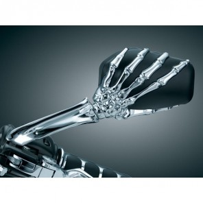 Kuryakyn Skeleton Hand Wing Mirrors - Black Head , Chrome Stem