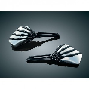 Kuryakyn Skeleton Hand Wing Mirrors - Chrome Head , Black Stem